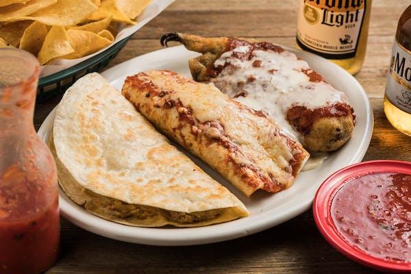 Q. Chile Relleno, Chicken & Bean Burrito & Chicken Quesadilla
