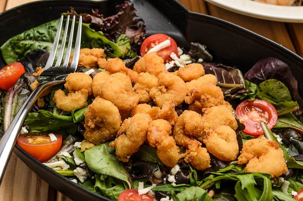 Fried Popcorn Shrimp Salad