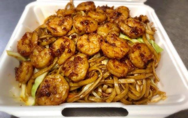 Grilled Shrimp Over Lo Mein