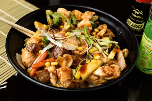 T11. Chicken, Shrimp, & Steak Teriyaki Rice Bowl