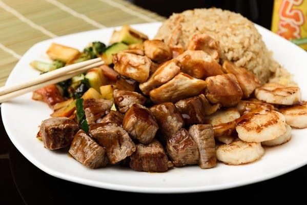 H18. Chicken, Steak & Scallop Hibachi Dinner