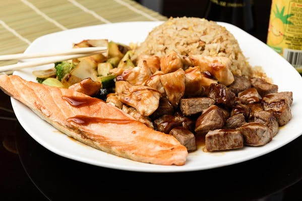 H19. Chicken, Steak & Salmon Hibachi Dinner
