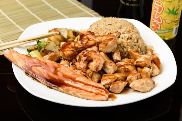 H21. Chicken, Shrimp & Salmon Hibachi Dinner