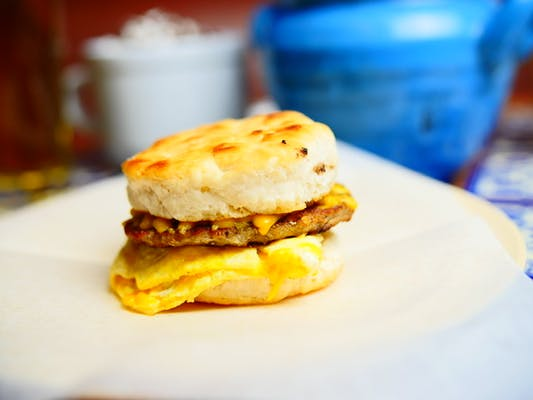 Biscuit, Egg, Cheese & Sausage Sandwich