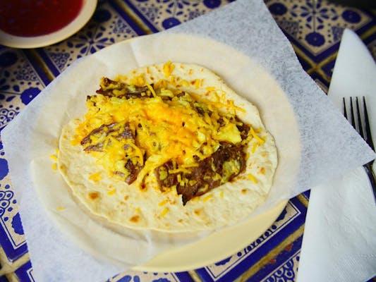Steak, Egg & Cheese Breakfast Taco