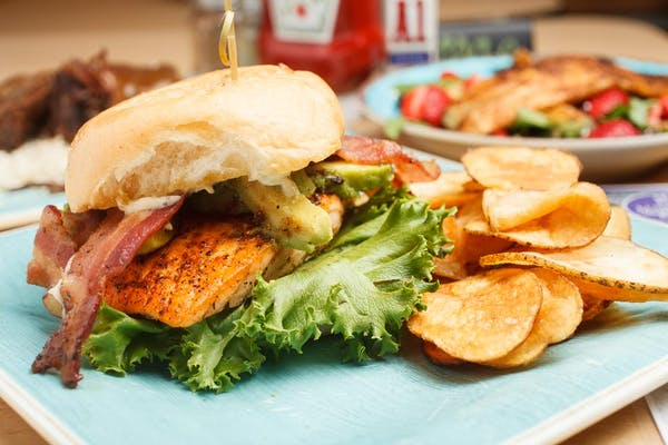Salmon, Avocado BLT Sandwich