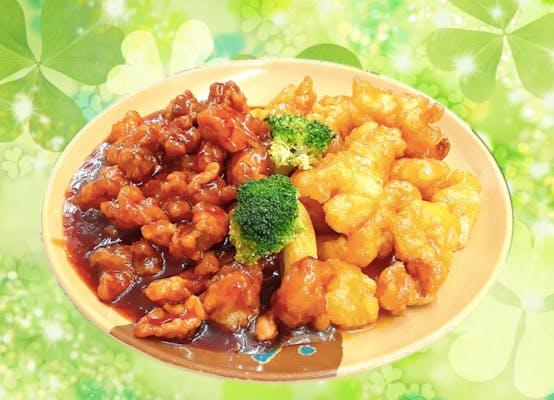 P18. Honey Shrimp & General Tso's Chicken