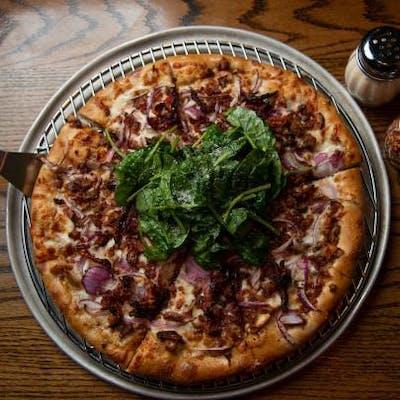Garlic Chicken with Spinach Pizza