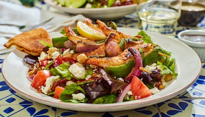 Shrimp Kebob Greek Salad