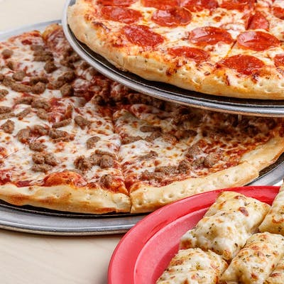 #3 Two Large One-Topping Pizzas & Side