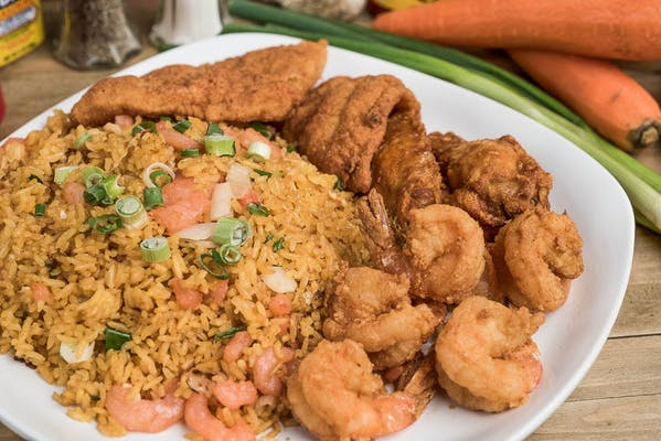 (2 pc.) Fried Fish & (6 pc.) Large Shrimp Lunch