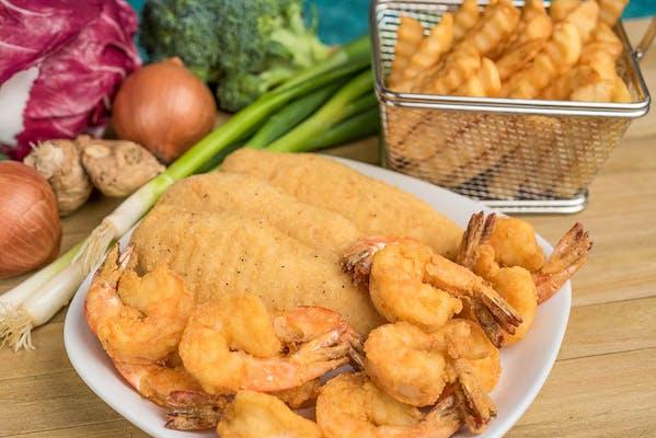 31. Crispy Chicken Strips, Medium Shrimp & French Fries