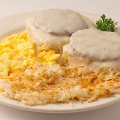 Sausage, Eggs, Biscuits & Gravy