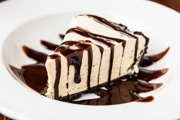 Peanut Butter Pie with Chocolate Sauce