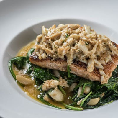 Pan Roasted Salmon With Lump Crabmeat