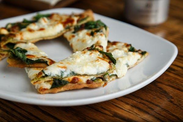Cheesy Pesto Spinach Flatbread