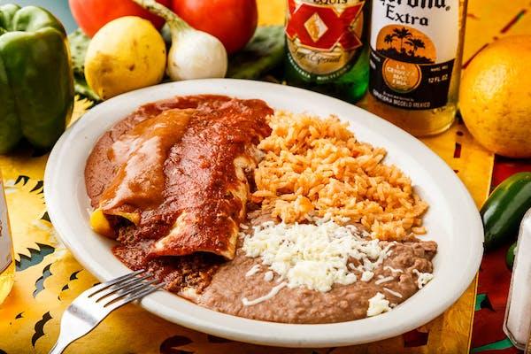 #25 Burrito, Enchilada, Beans & Rice