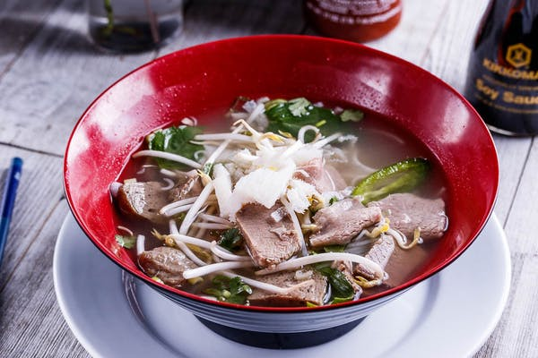 P7. Steak, Brisket, Soft Tendon, Meatballs & Tripe Pho *Contains raw ingredients.