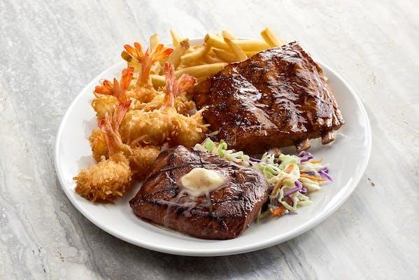 Ribs, Steak & Shrimp Trio