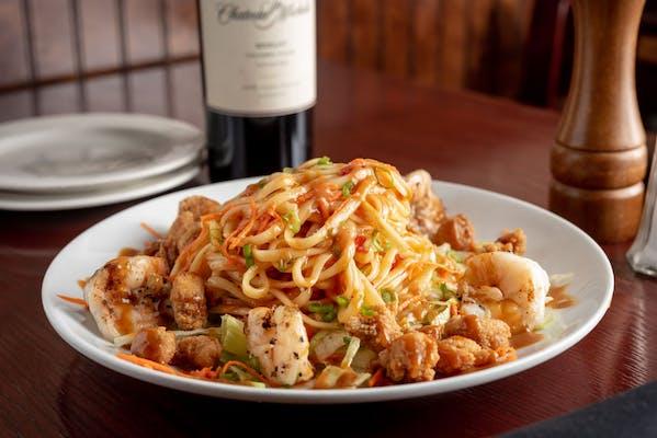 Sweet Chili Noodles with Crawfish & Shrimp Salad