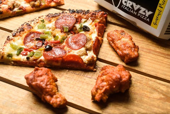 Crazy Slice of Pizza & (3) Wings Combo