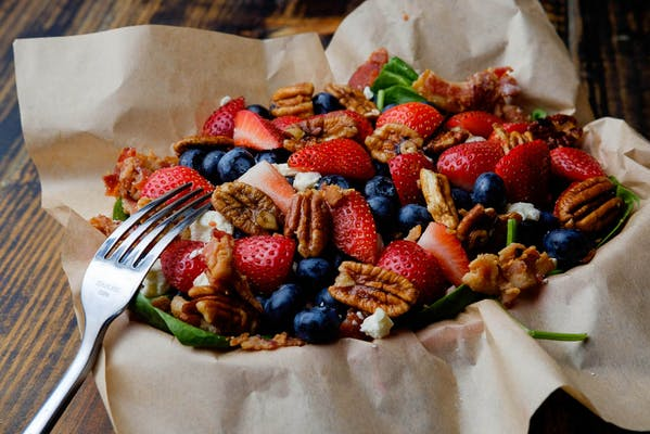Strawberry Spinach Salad (no blueberries this week)