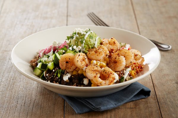 Cauliflower & Quinoa Power Bowl With Shrimp