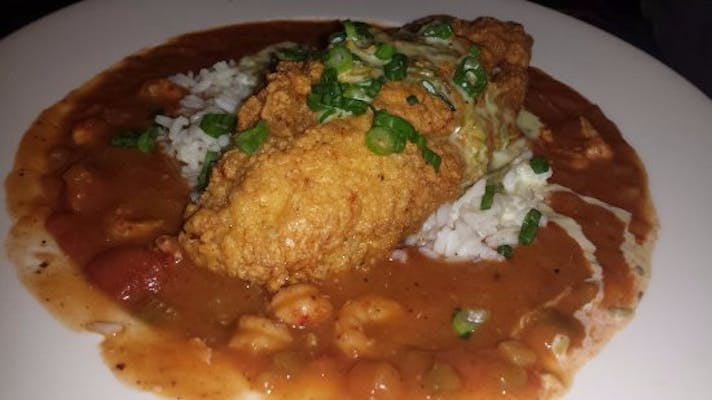Friday Fried Fish with Crawfish Étouffée