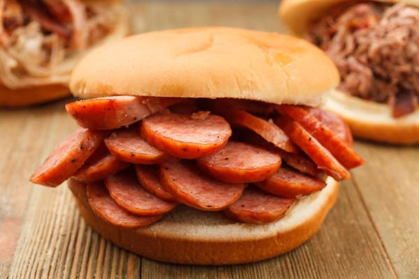 Sliced Sausage BBQ Sandwich