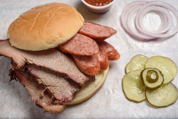 Sausage & Brisket BBQ Sandwich
