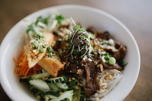 Grilled Pork & Eggroll Vermicelli Noodle Bowl