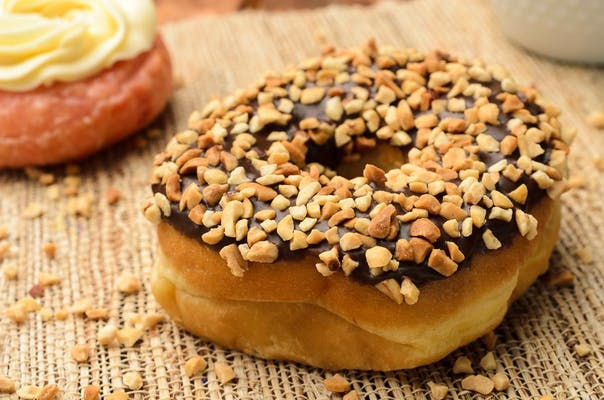 Chocolate Donut with Peanuts