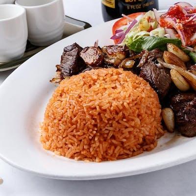 Shaken Beef & Rice Platter