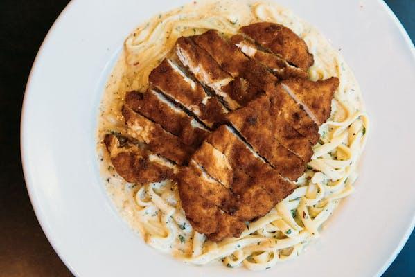 Panéed Chicken Alfredo