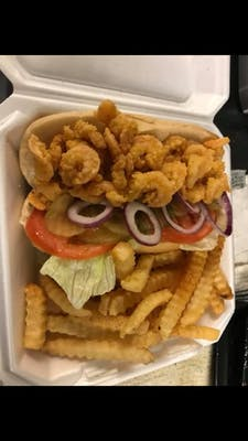 Shrimp or fish PoBoy Sandwhich