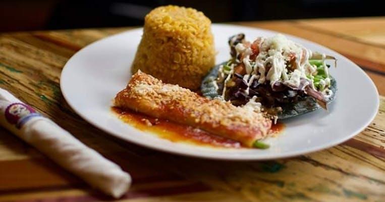 3. Lunch Beef Tostada & Cheese Enchilada