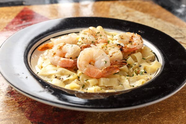 Fettuccine Alfredo with Fresh Shrimp.