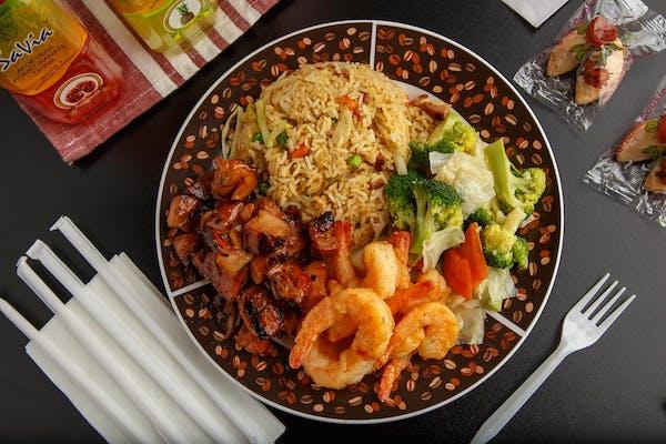 Shrimp, Bourbon Chicken & (2) Sides
