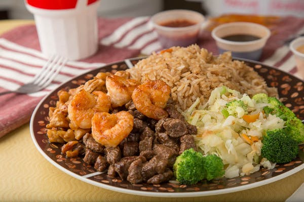 Hibachi Chicken, Beef & Shrimp