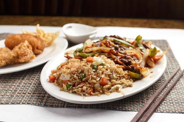 C19. Szechuan Spicy Beef Platter