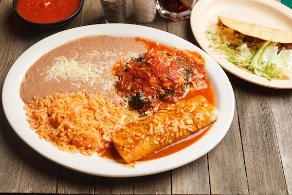Chile Relleno, Enchilada, Taco, Rice & Beans
