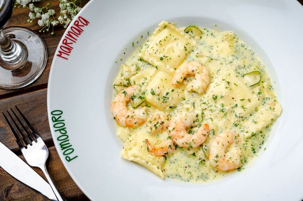 Alfredo Ravioli with Shrimp