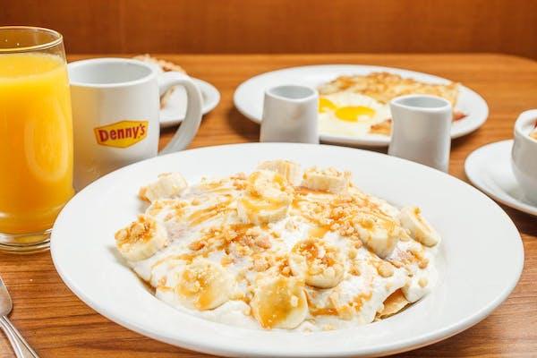 Salted Caramel & Banana Cream Pancake Breakfast