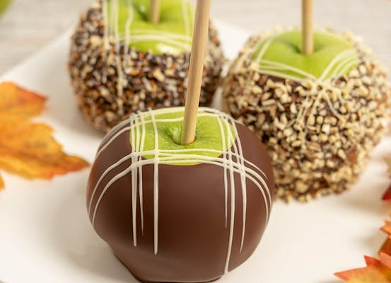 Chocolate-Dipped Caramel Apple with Swizzle Topping