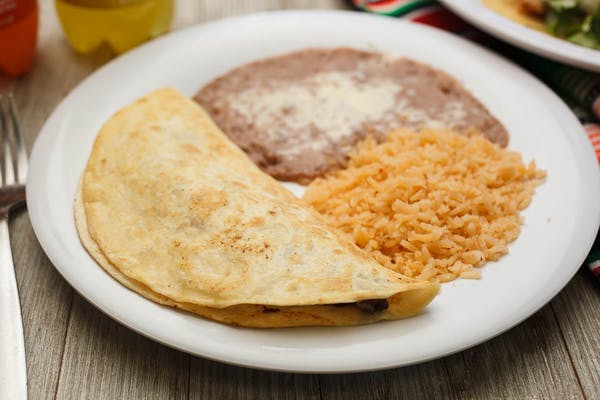 Chicken Quesadilla with Rice & Beans