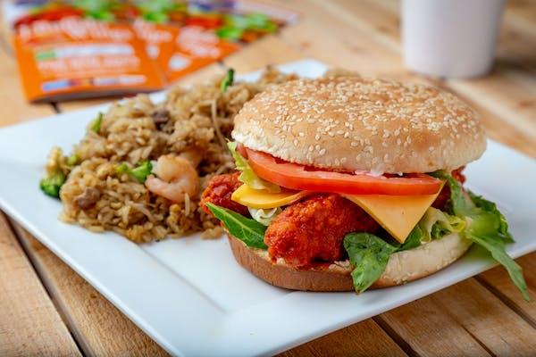 Buffalo Chicken Sandwich & Vegetable Fried Rice Combo