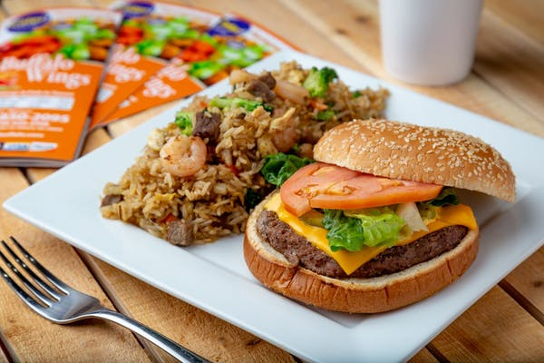 Burger & Vegetable Fried Rice Combo