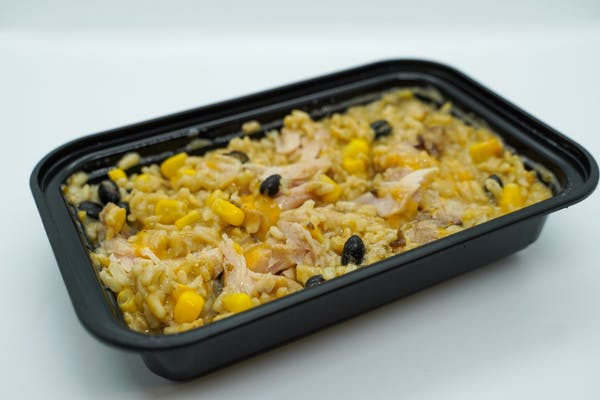 #8  Smoked Chicken, Southwest Black Beans, & Br. Rice& Ranch with Cheddar cheese