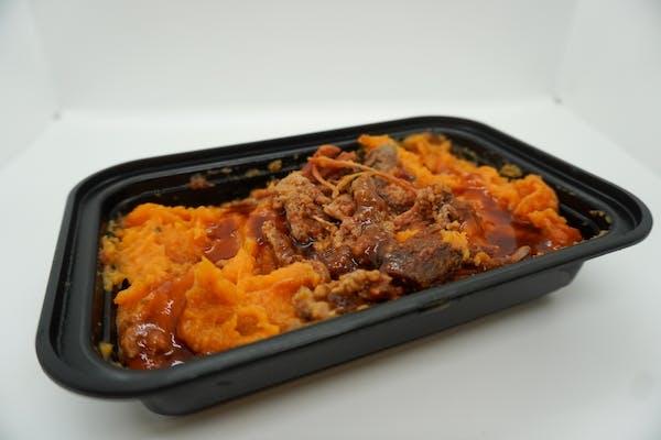 #16 pulled pork, black beans, brown rice with carolina sauce