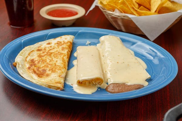 E. (1) Bean Burrito, (1) Cheese Enchiladas & (1) Cheese Quesdilla